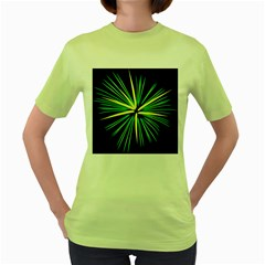 Fireworks Green Happy New Year Yellow Black Sky Women s Green T Shirt by Alisyart