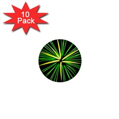 Fireworks Green Happy New Year Yellow Black Sky 1  Mini Buttons (10 Pack)  by Alisyart