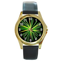 Fireworks Green Happy New Year Yellow Black Sky Round Gold Metal Watch by Alisyart