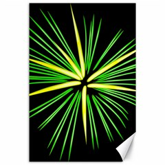 Fireworks Green Happy New Year Yellow Black Sky Canvas 24  X 36  by Alisyart