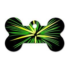 Fireworks Green Happy New Year Yellow Black Sky Dog Tag Bone (one Side) by Alisyart