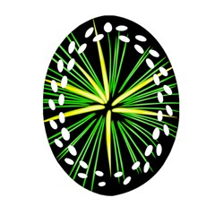 Fireworks Green Happy New Year Yellow Black Sky Oval Filigree Ornament (two Sides) by Alisyart