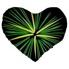 Fireworks Green Happy New Year Yellow Black Sky Large 19  Premium Heart Shape Cushions by Alisyart