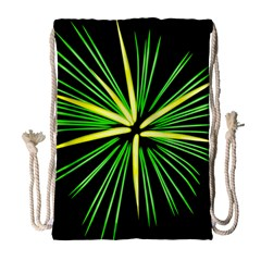 Fireworks Green Happy New Year Yellow Black Sky Drawstring Bag (large) by Alisyart
