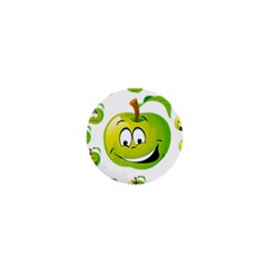 Apple Green Fruit Emoji Face Smile Fres Red Cute 1  Mini Buttons by Alisyart