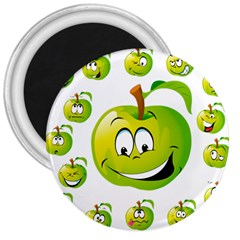 Apple Green Fruit Emoji Face Smile Fres Red Cute 3  Magnets by Alisyart