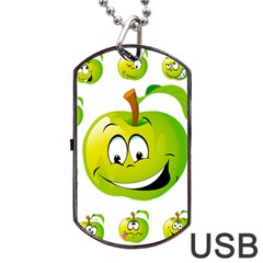 Apple Green Fruit Emoji Face Smile Fres Red Cute Dog Tag Usb Flash (one Side) by Alisyart