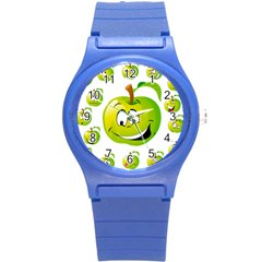 Apple Green Fruit Emoji Face Smile Fres Red Cute Round Plastic Sport Watch (s) by Alisyart