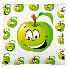 Apple Green Fruit Emoji Face Smile Fres Red Cute Large Cushion Case (two Sides) by Alisyart
