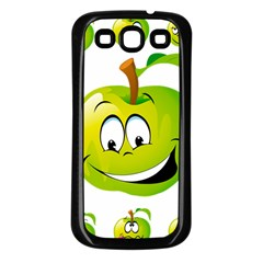 Apple Green Fruit Emoji Face Smile Fres Red Cute Samsung Galaxy S3 Back Case (black) by Alisyart