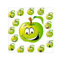 Apple Green Fruit Emoji Face Smile Fres Red Cute Small Satin Scarf (square) by Alisyart