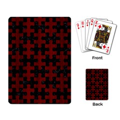 Puzzle1 Black Marble & Red Wood Playing Card by trendistuff