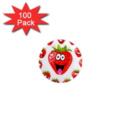 Strawberry Fruit Emoji Face Smile Fres Red Cute 1  Mini Magnets (100 Pack)  by Alisyart