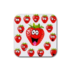 Strawberry Fruit Emoji Face Smile Fres Red Cute Rubber Square Coaster (4 Pack)  by Alisyart