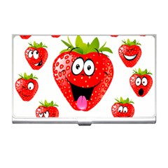 Strawberry Fruit Emoji Face Smile Fres Red Cute Business Card Holders by Alisyart