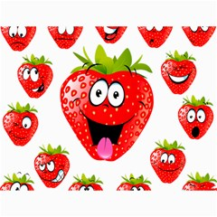Strawberry Fruit Emoji Face Smile Fres Red Cute Canvas 36  X 48   by Alisyart