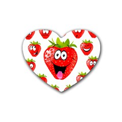 Strawberry Fruit Emoji Face Smile Fres Red Cute Rubber Coaster (heart)  by Alisyart