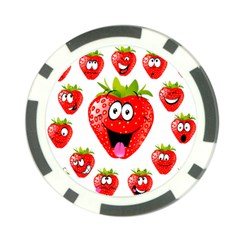 Strawberry Fruit Emoji Face Smile Fres Red Cute Poker Chip Card Guard by Alisyart