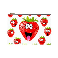 Strawberry Fruit Emoji Face Smile Fres Red Cute Cosmetic Bag (large)  by Alisyart