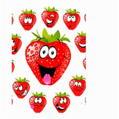 Strawberry Fruit Emoji Face Smile Fres Red Cute Small Garden Flag (two Sides) by Alisyart