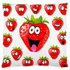 Strawberry Fruit Emoji Face Smile Fres Red Cute Large Cushion Case (one Side) by Alisyart