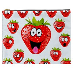 Strawberry Fruit Emoji Face Smile Fres Red Cute Cosmetic Bag (xxxl)  by Alisyart