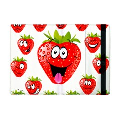 Strawberry Fruit Emoji Face Smile Fres Red Cute Apple Ipad Mini Flip Case by Alisyart
