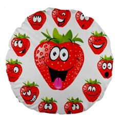 Strawberry Fruit Emoji Face Smile Fres Red Cute Large 18  Premium Round Cushions by Alisyart