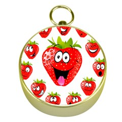 Strawberry Fruit Emoji Face Smile Fres Red Cute Gold Compasses