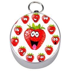 Strawberry Fruit Emoji Face Smile Fres Red Cute Silver Compasses by Alisyart