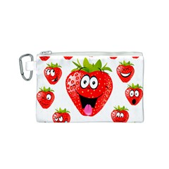 Strawberry Fruit Emoji Face Smile Fres Red Cute Canvas Cosmetic Bag (s) by Alisyart
