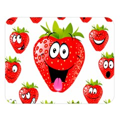 Strawberry Fruit Emoji Face Smile Fres Red Cute Double Sided Flano Blanket (large)  by Alisyart