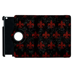 Royal1 Black Marble & Red Wood Apple Ipad 3/4 Flip 360 Case by trendistuff