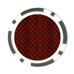 Scales1 Black Marble & Red Wood Poker Chip Card Guard by trendistuff