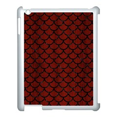 Scales1 Black Marble & Red Wood Apple Ipad 3/4 Case (white) by trendistuff