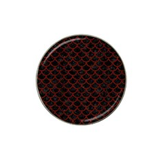Scales1 Black Marble & Red Wood (r) Hat Clip Ball Marker by trendistuff