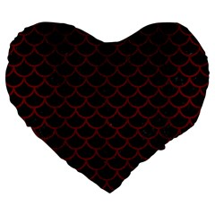 Scales1 Black Marble & Red Wood (r) Large 19  Premium Flano Heart Shape Cushions by trendistuff