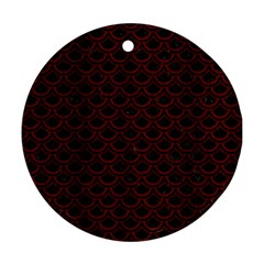 Scales2 Black Marble & Red Wood (r) Round Ornament (two Sides) by trendistuff
