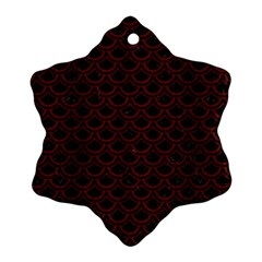 Scales2 Black Marble & Red Wood (r) Snowflake Ornament (two Sides) by trendistuff