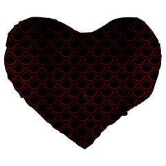 Scales2 Black Marble & Red Wood (r) Large 19  Premium Heart Shape Cushions by trendistuff