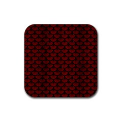 Scales3 Black Marble & Red Wood Rubber Square Coaster (4 Pack)  by trendistuff