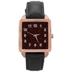 Scales3 Black Marble & Red Wood (r) Rose Gold Leather Watch  by trendistuff