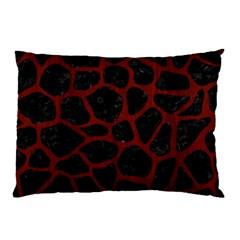 Skin1 Black Marble & Red Wood Pillow Case by trendistuff