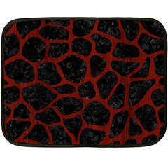 Skin1 Black Marble & Red Wood Fleece Blanket (mini) by trendistuff