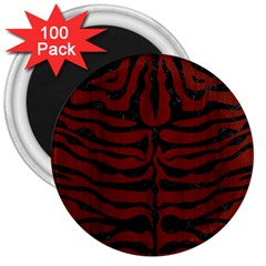 Skin2 Black Marble & Red Wood 3  Magnets (100 Pack) by trendistuff