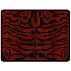 Skin2 Black Marble & Red Wood Double Sided Fleece Blanket (large)  by trendistuff