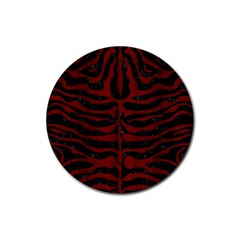 Skin2 Black Marble & Red Wood (r) Rubber Coaster (round)  by trendistuff