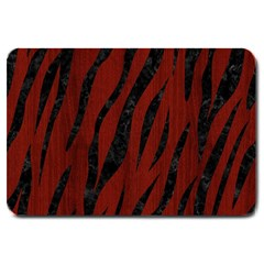 Skin3 Black Marble & Red Wood Large Doormat  by trendistuff