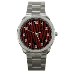 Skin4 Black Marble & Red Wood Sport Metal Watch by trendistuff