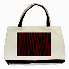 Skin4 Black Marble & Red Wood Basic Tote Bag (two Sides) by trendistuff